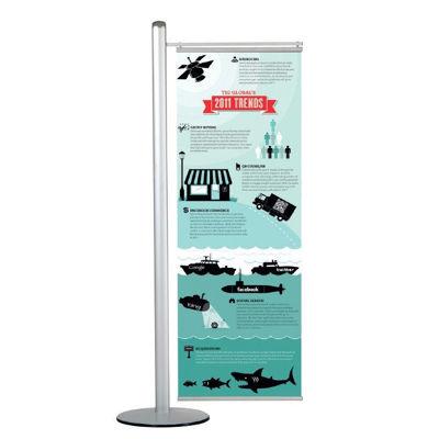 Slika M&T Displays stojalo za plakate - osrednja palica z nogo